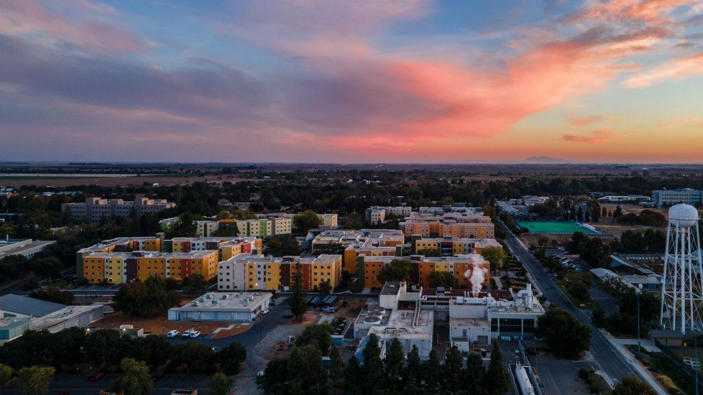 Sunset aerial view of University of California, Davis, Shields Avenue